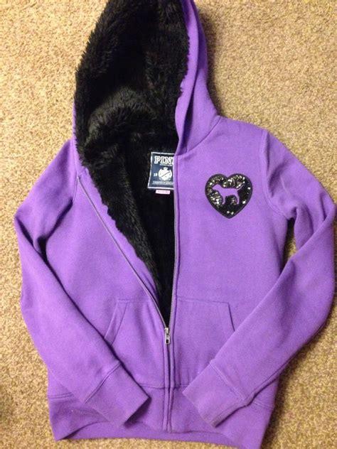 Make Screet Jacket Hoodie s secret pink hoodie sz xs purple bling sequin fur lined grtcon jacket ebay