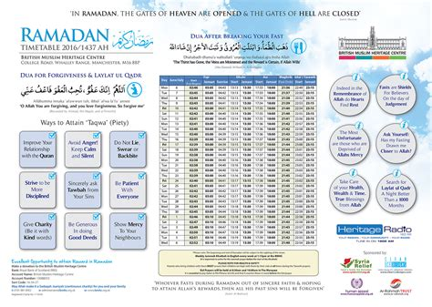 ramadan fasting hours 2018 ramadan timetable 2016 1437 ah bmhc