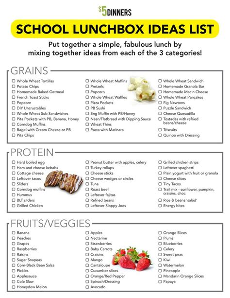 printable healthy dinner recipes back to school free printable school lunchbox ideas list