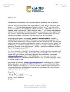 Emergency Management Cover Letter by The Great California Shakeout How Local Government
