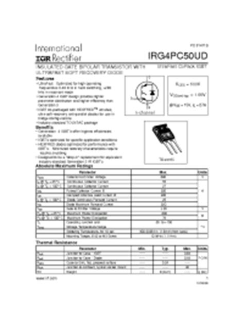 transistor n50 irg4pc50ud irf insulated gate bipolar transistor with ultrafast soft recovery diode vces