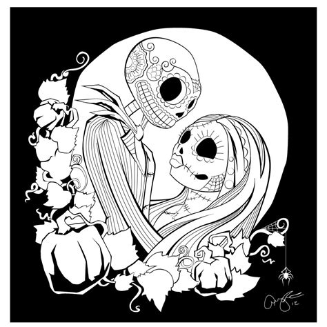The nightmare before christmas jack and sally coloring pages nightmare