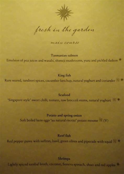 Delicious Garden Menu by Fresh In The Garden Soneva Fushi Restaurant Review