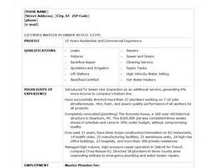 Plumbing Resume Templates by Plumber Resume Template Plumber Resume