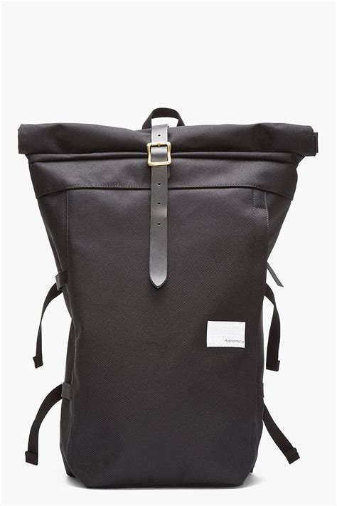 nanamica black roll top cycling backpack in black for lyst