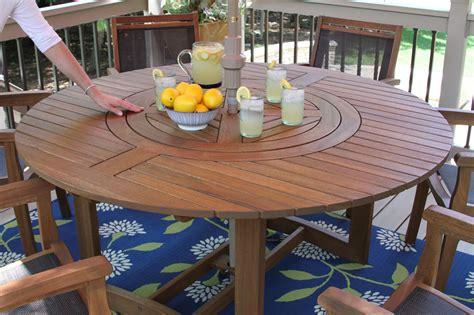 large  eucalyptus wood  lazy susan dining table