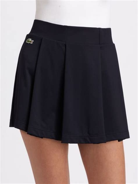 lacoste classic pleated tennis skirt in black lyst