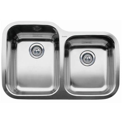 stainless kitchen sinks shop blanco supreme stainless steel double basin stainless