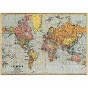 World Map Paper by Cavallini World Map Wrapping Paper