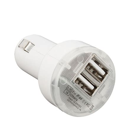 Charger Iphone 5 White usb 2 port car charger adaptor white for iphone 5 5s cell