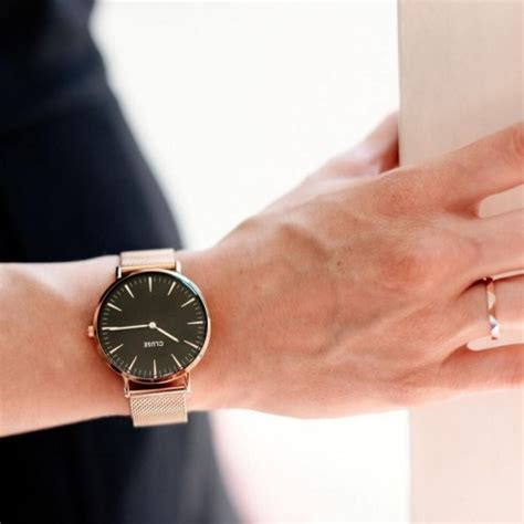 cluse la boh 200 me mesh gold black stainless steel