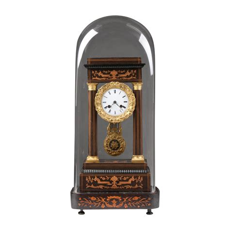 Clock L Stand empire rosewood inlaid portico clock with stand and