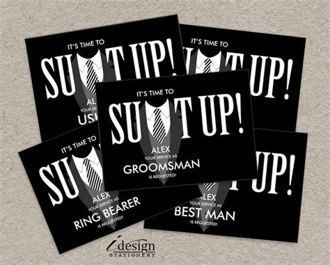 printable groomsman invitation printable suit up will you be my groomsman best man ring