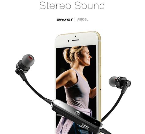 Hs Awei Earphone Bluetooth A990bl awei a990bl 110db noise isolation sweat proof flat wire wireless bluetooth v4 0 headset with mic