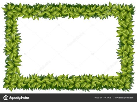 Border Template With Green Leaves Stock Vector Leaf Border Template