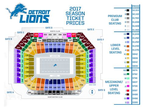 Ford Field Tickets by Detroit Lions Seating Chart Field Seating Chart Ayucar