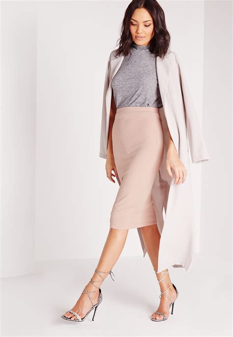 missguided ribbed bodycon midi skirt mauve in pink lyst