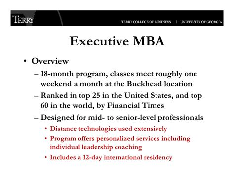 Overview Of Mba Class by Uga Terry College Of Business Executive Programs