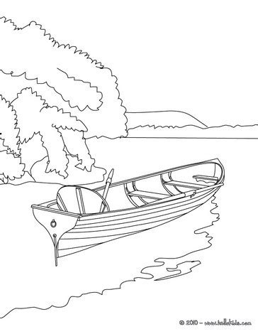 how to draw a boat on a lake rowboat on the lake coloring pages hellokids