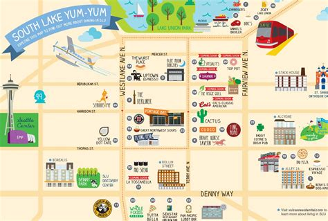 seattle map of restaurants lunch anyone check out south lake union s interactive