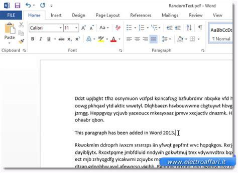 come convertire il testo di un pdf in un file word 2013