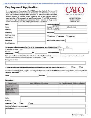 printable job application for catos catos application online fill online printable