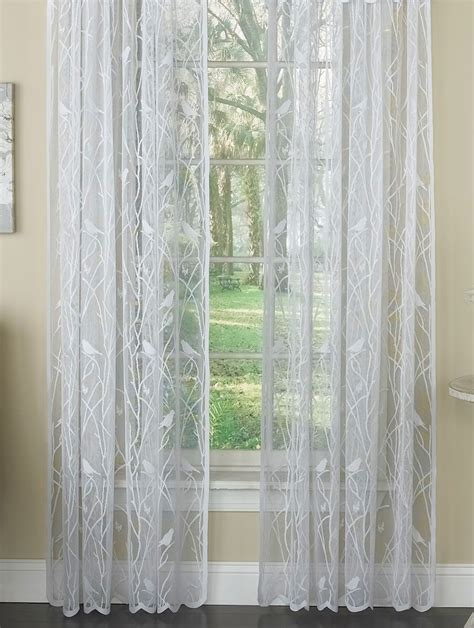 crossover voile curtains songbird lace rod pocket curtain panel white