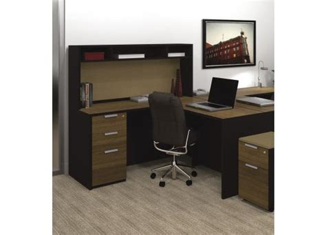 Bestar Pro Concept L Shaped Desk With Small Hutch 110851 1498 Small L Shaped Desk With Hutch