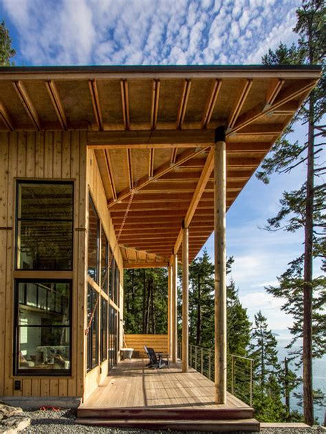 modern cabin rustic exterior seattle by johnston architects orcas island cabin rustic deck seattle by johnston