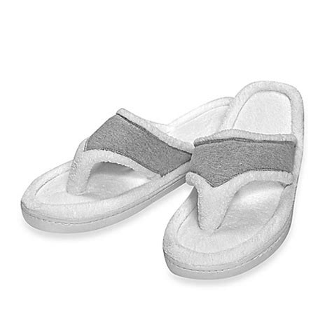 bed bath and beyond slippers elizabeth arden ultimate spa memory foam slippers in grey