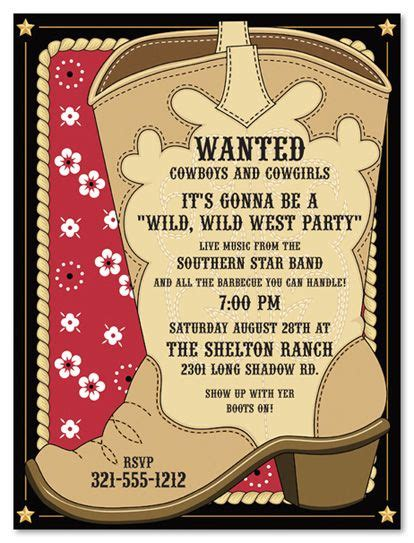 cowboy invitations template best template collection service awards 2016 west in