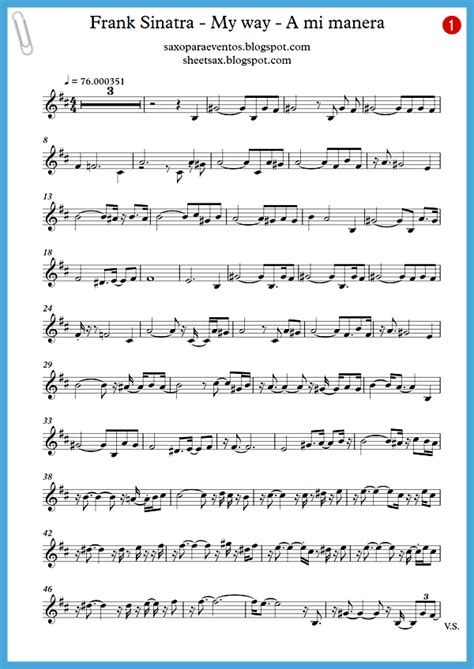 """My way""   Frank Sinatra score and track (Sheet music free"