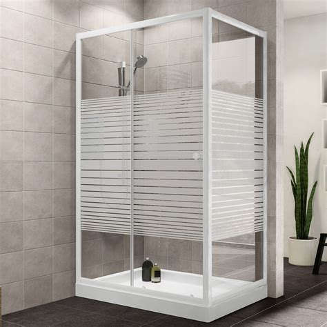 Single Door Shower Enclosure Plumbsure Rectangular Shower Enclosure With White Frame Single Sliding Door W 1200mm D 760mm