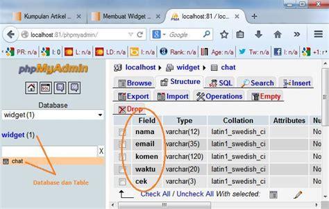 membuat database mysql dengan php membuat widget live chat dengan php mysql tutorial