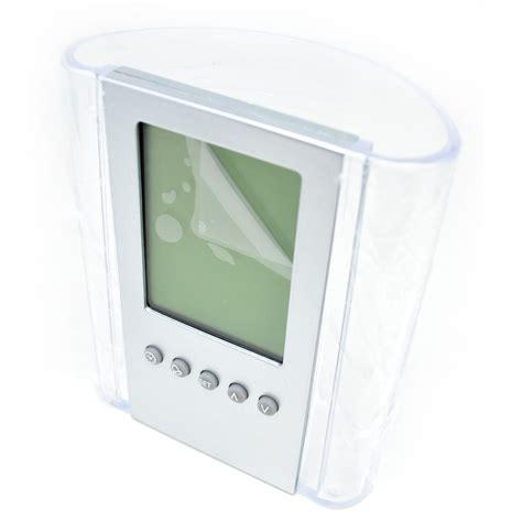 transparent penholder with clock jk 217d silver