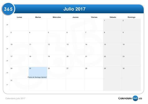 Calendario Julio 2017 Calendario Julio 2017