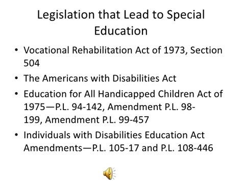 rehab act of 1973 section 504 early learning for students with disabilities