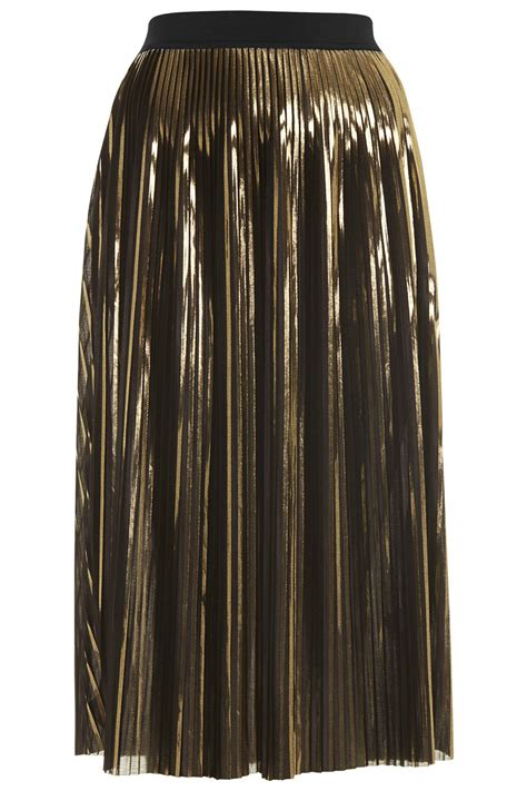 gold foil pleated midi skirt