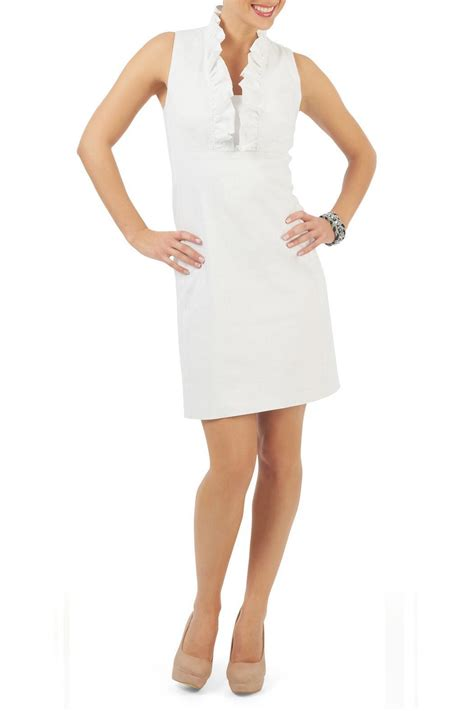 Sale Dress Import 1771 White yvonne ruffle collar dress white from montreal shoptiques