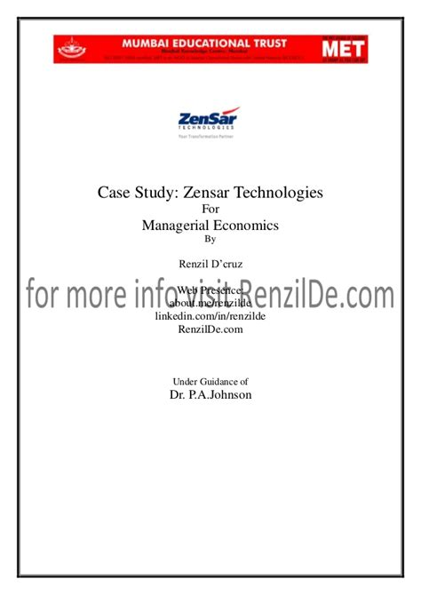 email zensar project report on zensar technologies for managerial economics