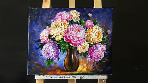 painting acrylic flowers a z paint beautiful peonies with acrylic paints and a palette