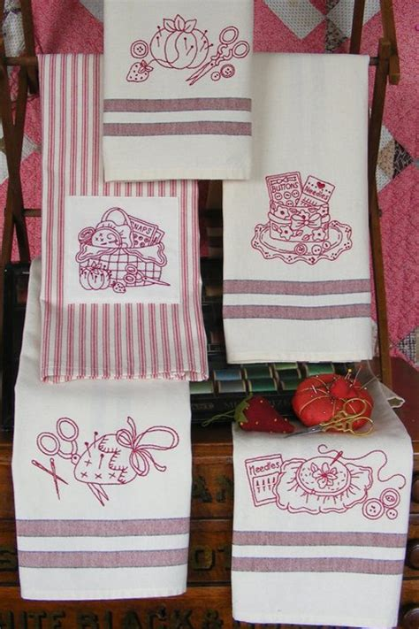 machine embroidery designs for kitchen towels set of 5 tea towels with fun machine embroidery motifs