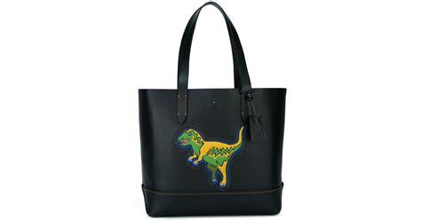 Coach Tag Dino 3 coach dinosaur patch tote bag in black lyst