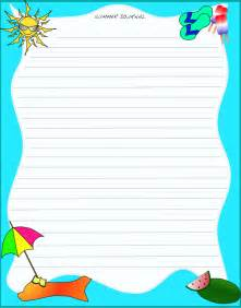 summer writing paper template 8 best images of free printable journal pages elementary