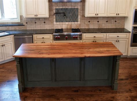 kitchen with butcher block island spalted pecan custom wood countertops butcher block