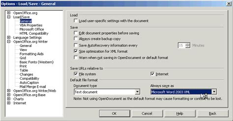 format file open office configure change or set openoffice org to default save