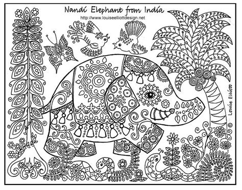 elephant pattern coloring pages free print and colour pages for kids heena designs