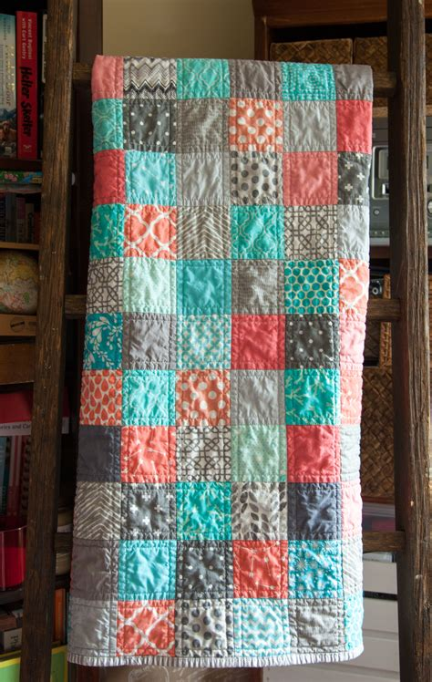 Easy Patchwork Quilt - modern baby patchwork quilt colors corals blue and grays