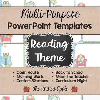 themes in reading powerpoint reading theme powerpoint templates by the knitted apple tpt