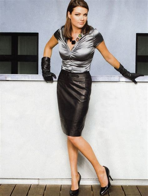 black leather pencil skirt gray satin blouse black leather
